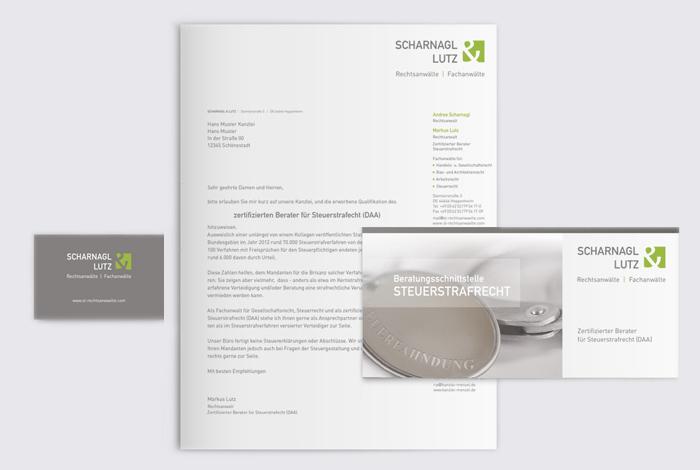 kreativ-fee Referenz Scharnagl Lutz Rechtsanwälte Corporate Design_A