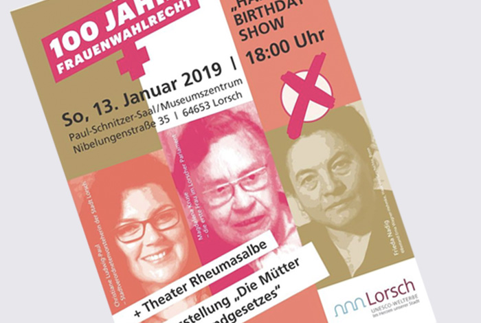 Kreativ-Fee_Referenz-Plakat Lorsch 100 jahre Frauenwahlrecht