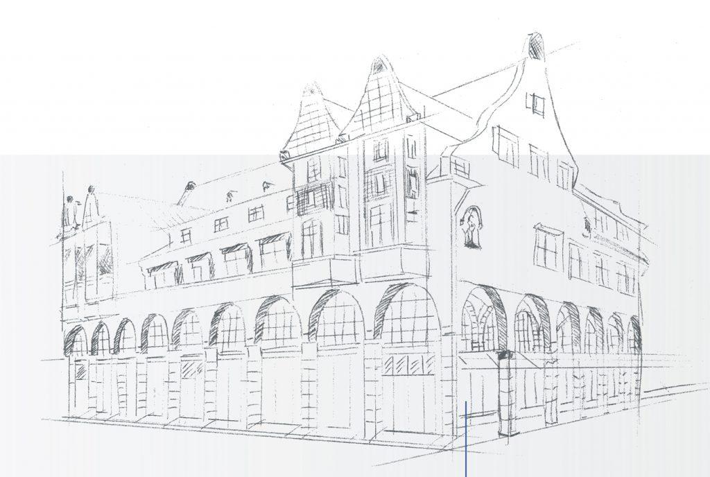 _kreativ-fee Referenz Magistrat Heppenheim Stadthaus Skizze