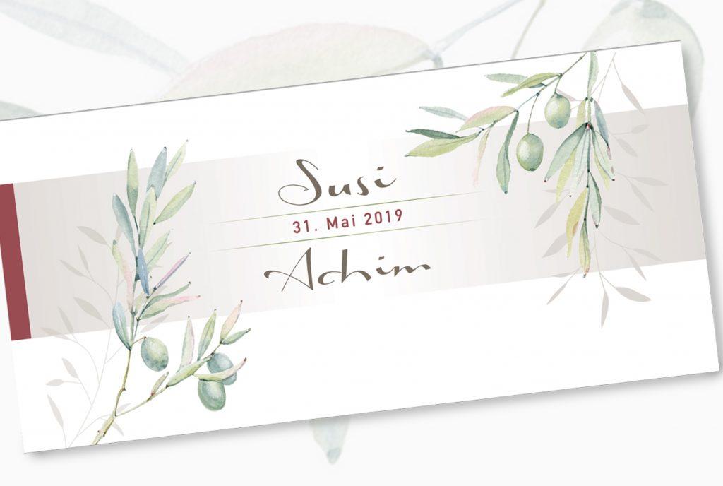 kreativ-fee Einladung Referenz Hochzeit Olive