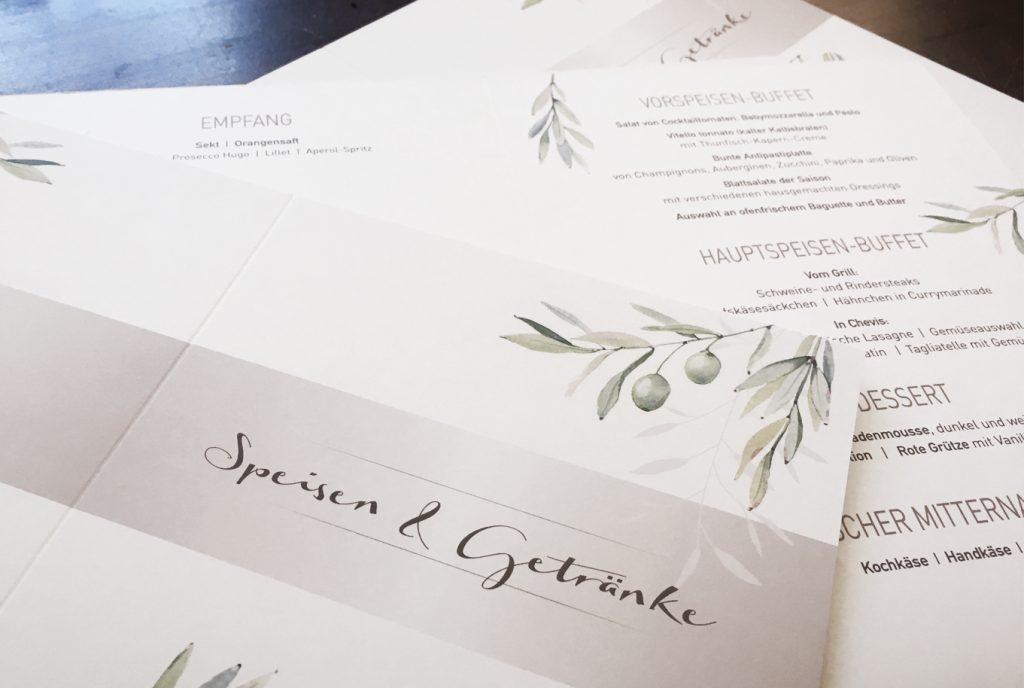 _kreativ-fee Referenz Hochzeit Menükarte Olive