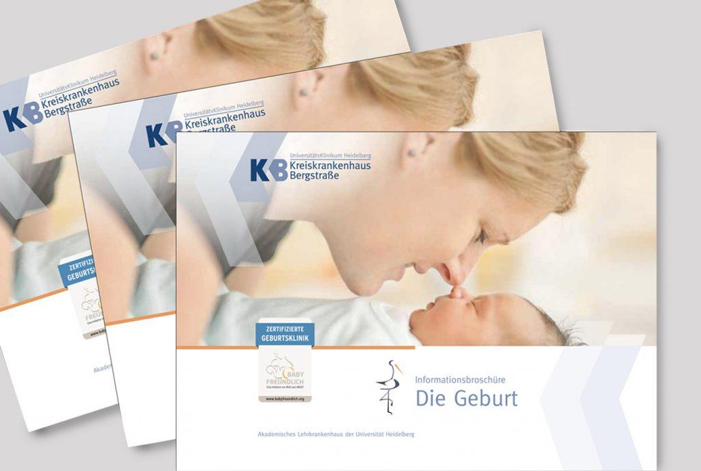 Kreativ-Fee_Referenz-Kreiskrankenhaus Bergstrasse_Babybroschüre_Geburt